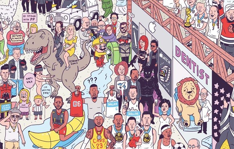 Un illustrateur regroupe sur une seule affiche tous les faits marquants de 2015 affiche-2015-luke-mcgarry-5