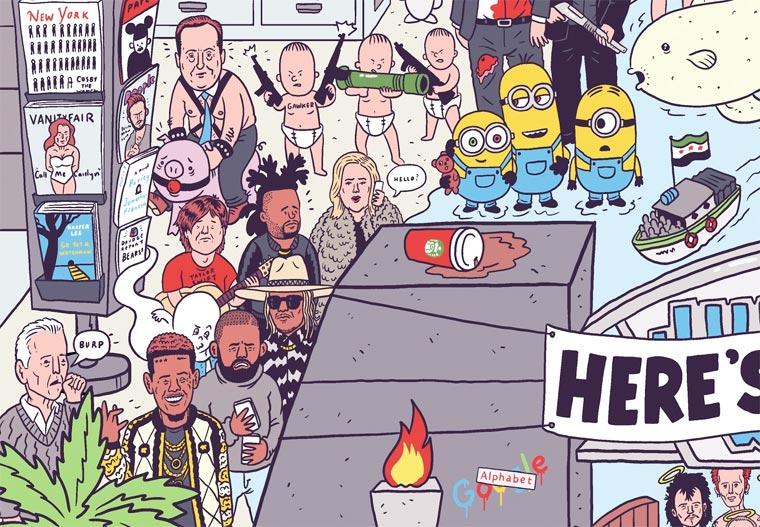 Un illustrateur regroupe sur une seule affiche tous les faits marquants de 2015 affiche-2015-luke-mcgarry-6