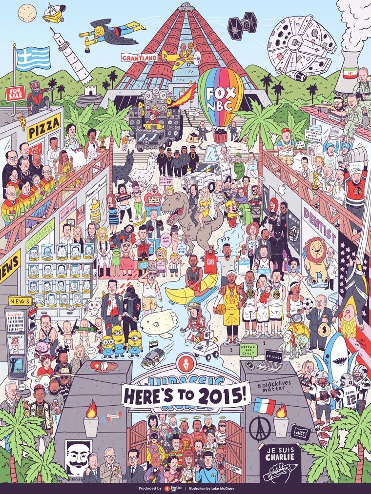 Un illustrateur regroupe sur une seule affiche tous les faits marquants de 2015 affiche-2015-luke-mcgarry-7