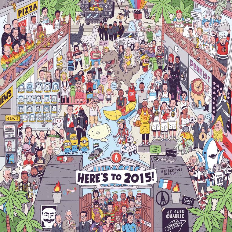 Un illustrateur regroupe sur une seule affiche tous les faits marquants de 2015 affiche-2015-luke-mcgarry-9