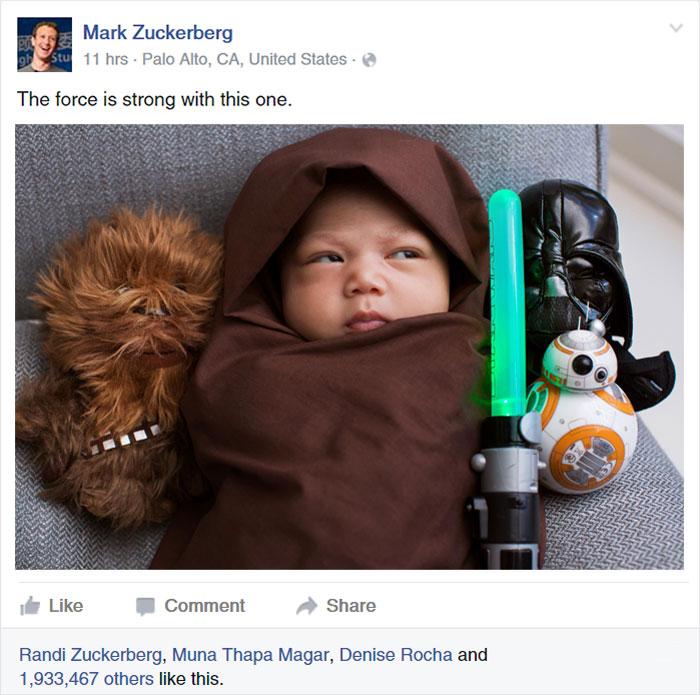 La petite fille de Mark Zuckerberg habillée comme un Jedi inspire d'autres parents bebe-habille-star-wars-6