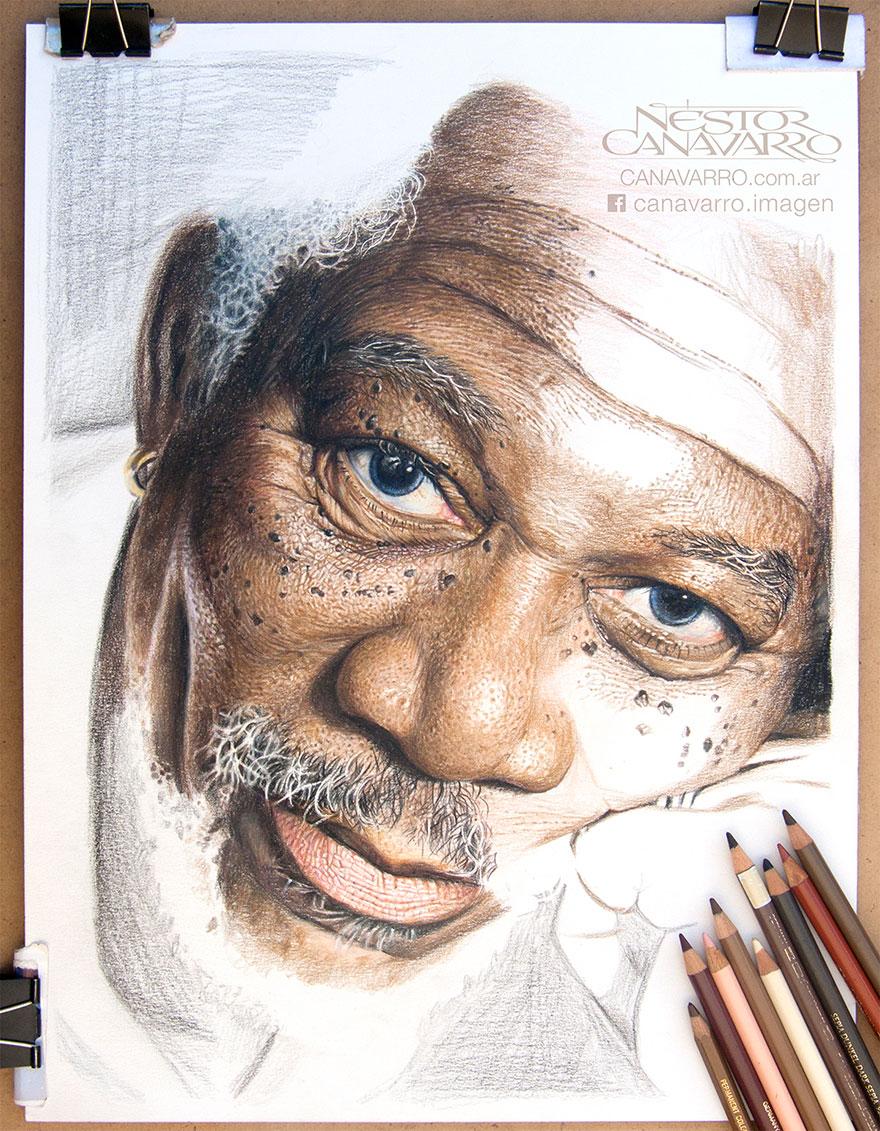 Magnifique portrait de Morgan Freeman par l'artiste Nestor Canavarro dessin-morgan-freeman-canavarro-1