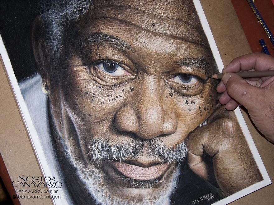 Magnifique portrait de Morgan Freeman par l'artiste Nestor Canavarro dessin-morgan-freeman-canavarro-2