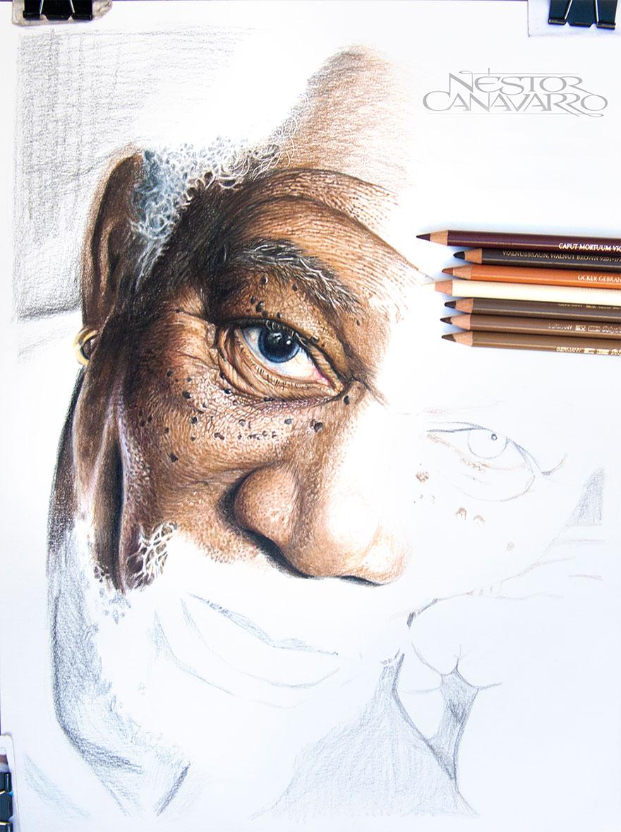 Magnifique portrait de Morgan Freeman par l'artiste Nestor Canavarro dessin-morgan-freeman-canavarro-3