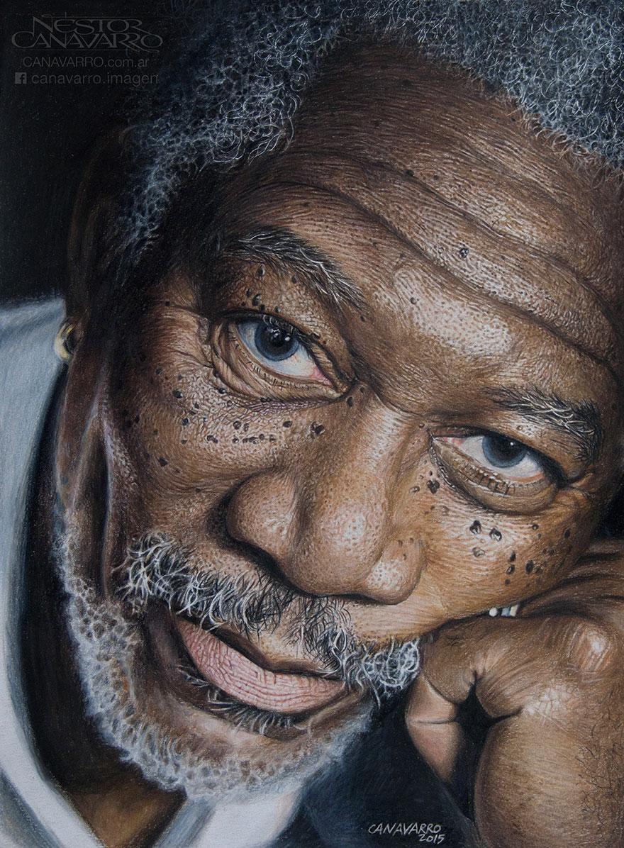 Magnifique portrait de Morgan Freeman par l'artiste Nestor Canavarro dessin-morgan-freeman-canavarro-4