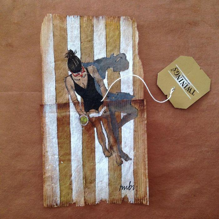 Pendant 363 jours, une artiste dessine sur des sachets de thé usagés illustration-sachet-the-363-jours-1