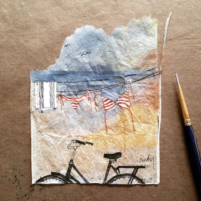 Pendant 363 jours, une artiste dessine sur des sachets de thé usagés illustration-sachet-the-363-jours-2