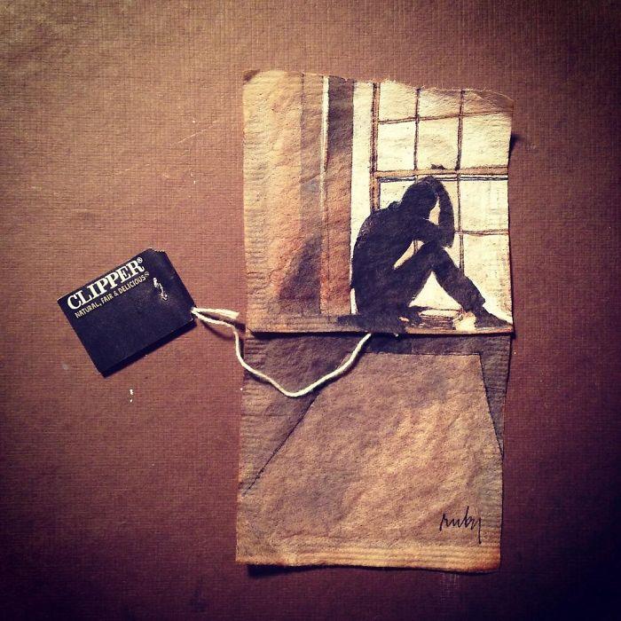 Pendant 363 jours, une artiste dessine sur des sachets de thé usagés illustration-sachet-the-363-jours-4