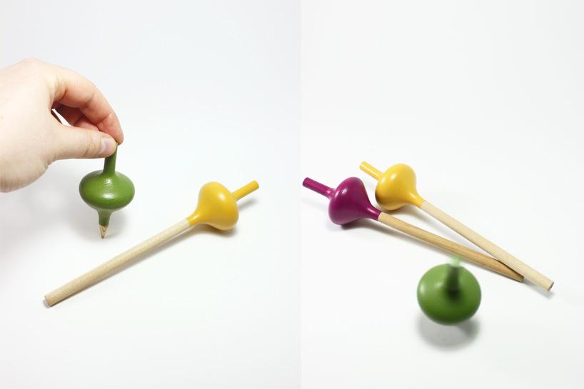 Des designers français créent un crayon ludique en forme de toupie spincil-crayon-toupie-2