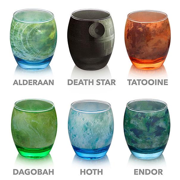 Des verres aux couleurs des planètes de Star Wars verres-planete-star-wars-2