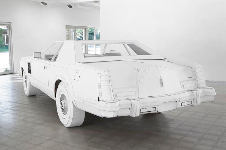 Une artiste réalise avec du carton la copie conforme de la voiture de son grand-père voiture-carton-grand-pere-2