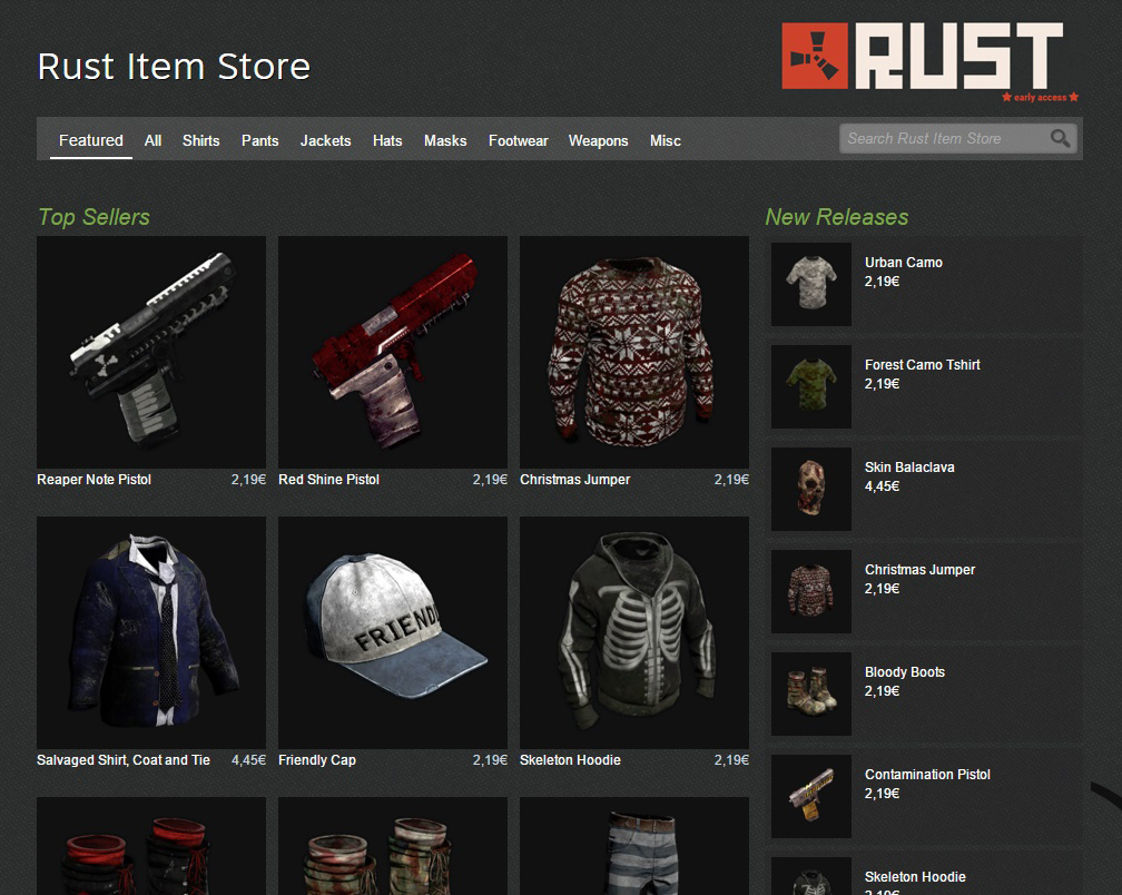 Steam lance son modèle économique in-app Rust-item-Store-Steam