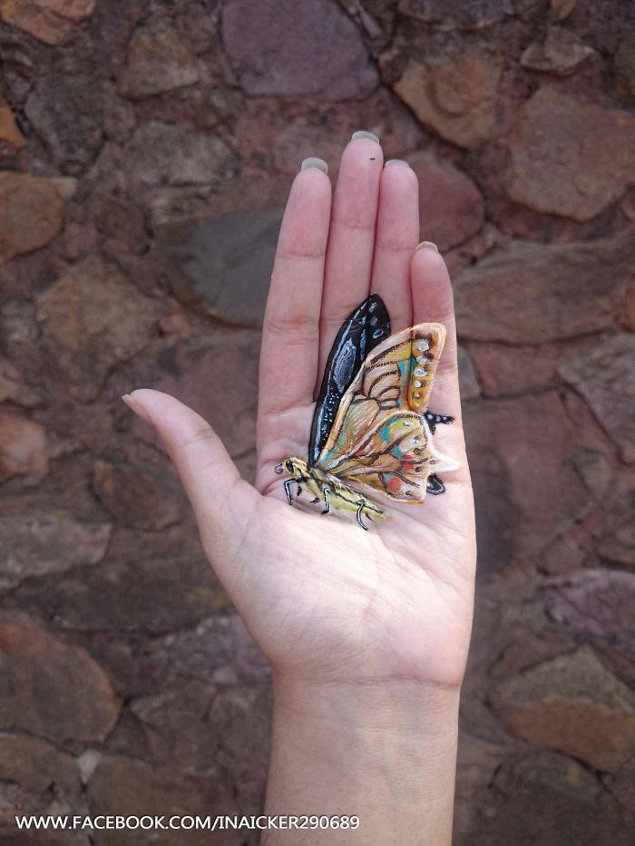 Cette jeune fille réalise des peintures en 3D sur la paume de sa main peinture-3D-paume-main-5
