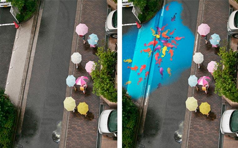 PROJET : lorsqu'il pleut, les rues de Séoul se remplissent de couleurs peinture-pluie-monsoon-projet-2