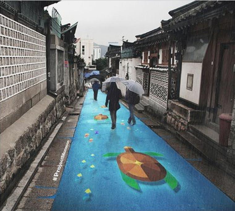 PROJET : lorsqu'il pleut, les rues de Séoul se remplissent de couleurs peinture-pluie-monsoon-projet-5
