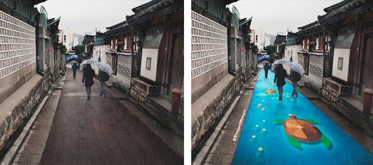 PROJET : lorsqu'il pleut, les rues de Séoul se remplissent de couleurs peinture-pluie-monsoon-projet-7